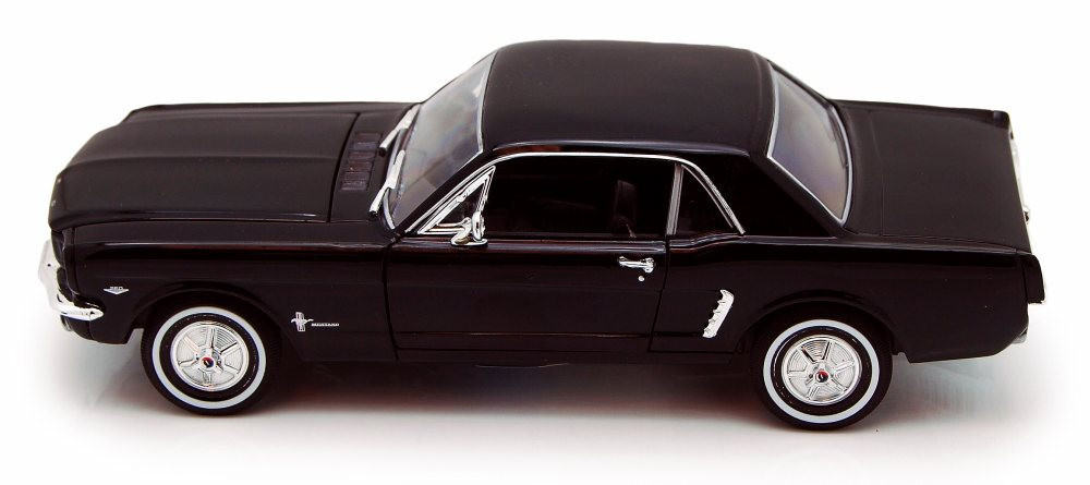 1964 1/2 Ford Mustang Coupe, Black - Welly 22451- 1/24 Scale Diecast Model Toy Car (Brand New, but NOT IN BOX)