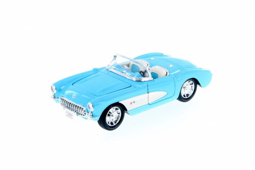 1957 Chevy Corvette Convertible, Light Blue - Welly 29393WBU - 1/24 scale Diecast Model Toy Car