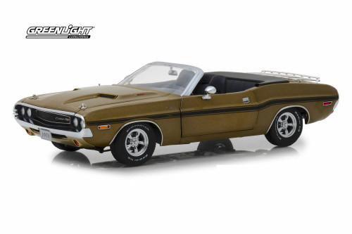 1970 Dodge Challenger R/T Convertible with Luggage Rack, Gold Poly - Greenlight 13527 - 1/18 Scale Diecast Model Toy Car