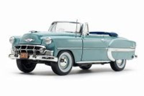 1953 Chevy Bel Air Open Convertible, Horizon Blue - Sun Star 1625 - 1/18 scale Diecast Model Toy Car