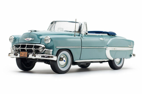 1953 Chevy Bel Air Open Convertible, Horizon Blue - Sun Star 1625 - 1/18 scale Diecast Model Toy Car