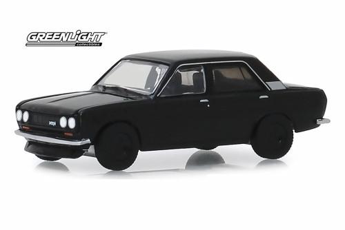 1970 Datsun 510 4-Door Sedan, Black - Greenlight 28010/48 - 1/64 scale Diecast Model Toy Car