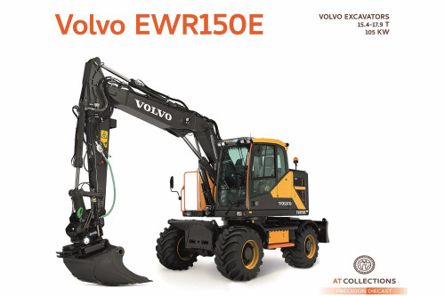 Volvo EWR150E Excavator with Steelwrist Tiltrotator and Nokian Tires, Yellow with Black - AT Collections AT3200100 - 1/32 Scale Diecast Model Toy Car
