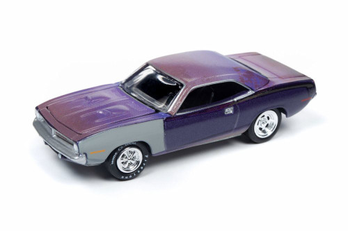 1970 Plymouth Cuda, Violet with Gray - Round 2 JLMC020/48A - 1/64 scale Diecast Model Toy Car