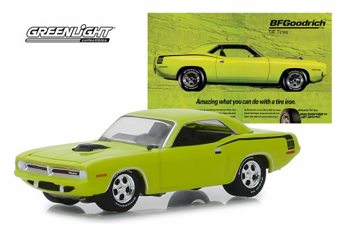 1970 Plymouth HEMI Barracuda, Lime Green - Greenlight 29977/48 - 1/64 scale Diecast Model Toy Car