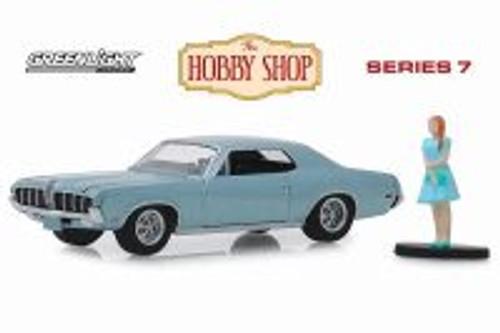 1970 Mercury Cougar with Woman Dress, Light Blue - Greenlight 97070B/48 - 1/64 scale Diecast Model Toy Car