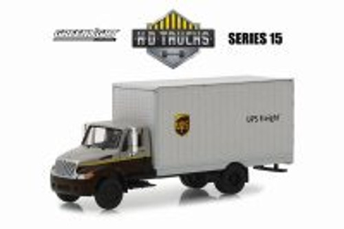 International Box Van, UPS Freight - Greenlight 33150B/48 - 1/64 Scale Diecast Model Toy Car