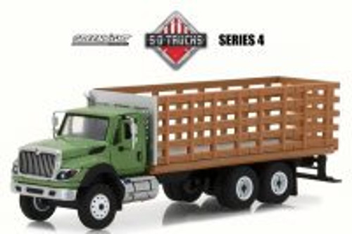 2018 International WorkStar Platform Stake Truck, Green w/ Brown - Greenlight 45040B/48 - 1/64 Scale Diecast Model Toy Car