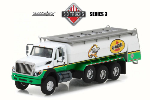 2017 International �WorkStar� Tanker Truck Tanker Truck Pennzoil Quaker State, White w/ Green - Greenlight 45030C/48 - 1/64 Scale Diecast Model Toy Car