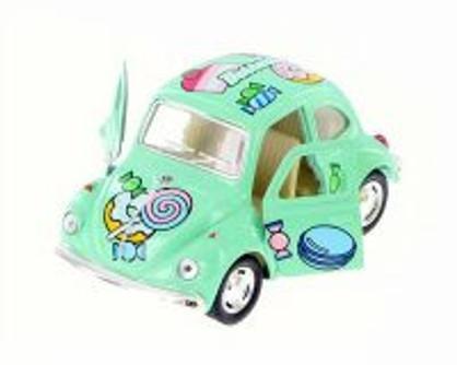 "1967 Volkswagen Classic Beetle with Decals, Green - Kinsmart 4026DYF - 4""  Diecast Model Toy Car"