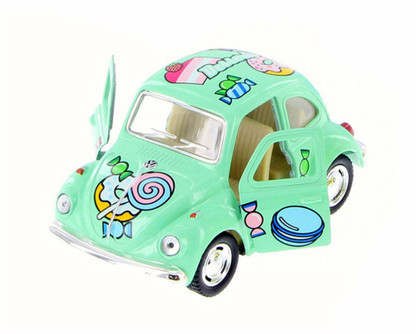"1967 Volkswagen Classic Beetle with Decals, Green - Kinsmart 4026DYF - 4""  Diecast Model Toy Car"