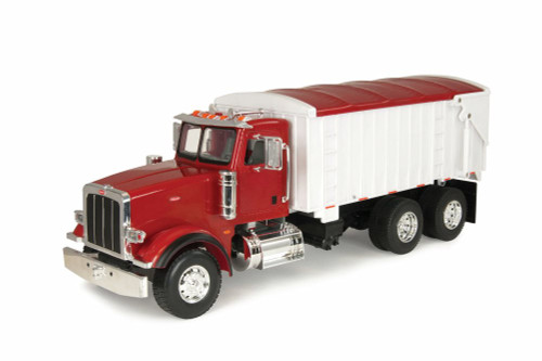 Peterbilt Model 367 With Grain Box - Lights and authentic Truck Sounds., Red and white - TOMY 46184P - 1/16 scale Hard Plastic Model