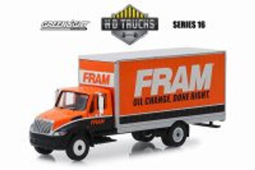2013 International Durstar Box Van, FRAM Oil Filters - Greenlight 33160B/48 - 1/64 Scale Diecast Model Toy Car