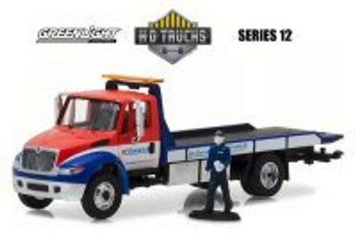 2013 International DuraStar Flatbed Tow Truck w/ Repairman Figure, BFGoodrich - Greenlight 33120B/48 - 1/64 Scale Diecast Model Toy Car