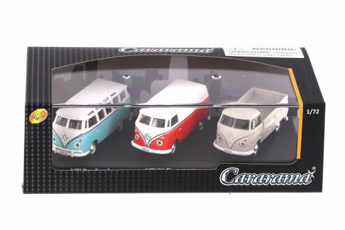 Volkswagen Bus, T1 Transporter, T1 Pickup 3 Car Set, Asstd - Cararama 71313M - 1/72 scale Diecast Model Toy Car