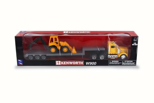 Kenworth W900 Lowboy w/ Bulldozer, Orange - New Ray 15303 - 1/43 Scale Model Vehicle Replica