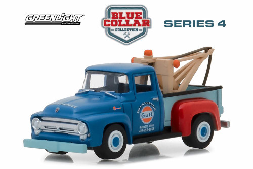 1956 Ford F-100 Tow Truck, Blue with Red - Greenlight 35100A/48 - 1/64 Scale Diecast Model Toy Car