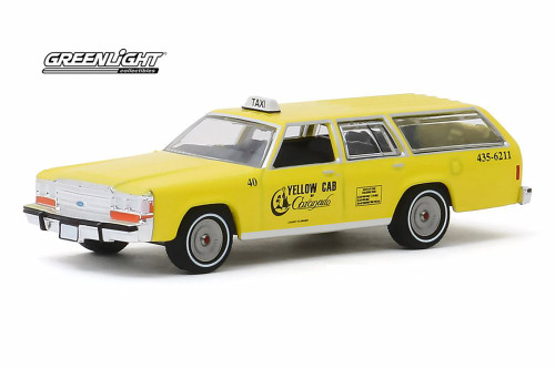 1988 Ford Crown Victoria Wagon Taxi Cab, Yellow - Greenlight 30122/48 - 1/64 scale Diecast Model Toy Car