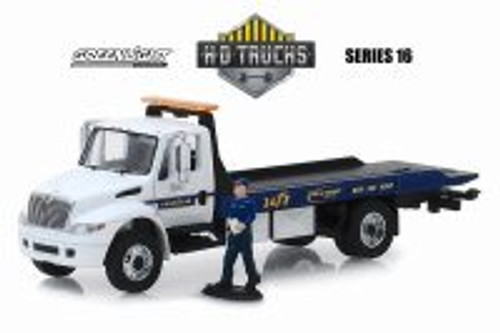 2013 International Durstar Flatbed with Serviceman Figure, Goodyear Roadside Service - Greenlight 33160C/48 - 1/64 Scale Diecast Model Toy Car