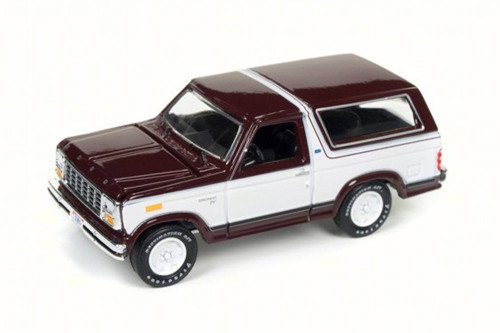 1980 Ford Bronco, Maroon/White - Round 2 RC006/24B - 1/64 Scale Diecast Model Toy Car