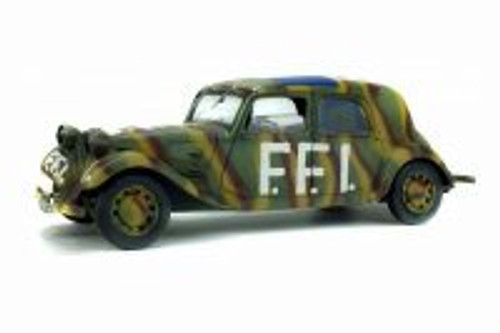 1944 Citroen Traction 11CV Hard Top, French Forces of the Interior (FFI) - Solido S1800902 - 1/18 Scale Diecast Model Toy Car