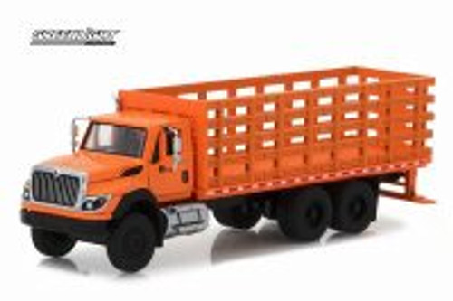 2017 International WorkStar Platform Stake Truck, Orange - Greenlight 45020B/48 - 1/64 Scale Diecast Model Toy Car
