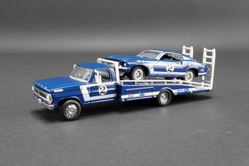 1969 Ford F-350 #2 Ramp Truck with Mustang Boss 302 Trans Am #2, Blue - Greenlight 51268 - 1/64 scale Diecast Model Toy Car