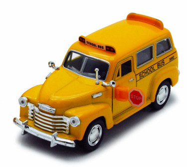1950 Chevy Suburban School Bus, Yellow - Kinsmart 5005D - 1/36 Scale Diecast Model Replica