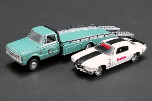 1967 Chevy Ramp Truck with 1971 Chevy Camaro Z/28, Turquoise with White and Black - Greenlight 51247 - 1/64 Scale Diecast Model Toy Car