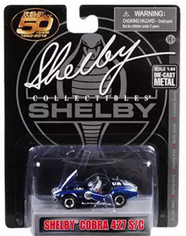 Shelby Cobra 427 S/C #98, Dark Metallic Blue with White Stripes - Shelby SC16403M - 1/64 scale Diecast Model Toy Car