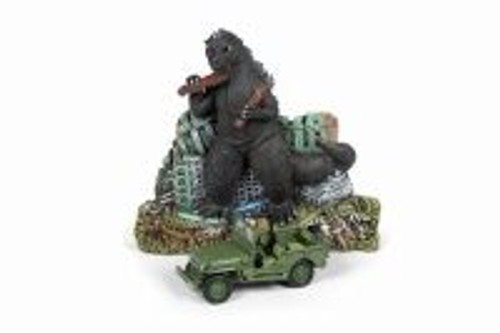 Willys MB Jeep Japan Police Reserve Corps with Godzilla Facade Diorama , Green - Round 2 JLDR008/24 - 1/64 scale Diecast Model Toy Car