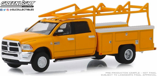 2018 Dodge Ram 3500 Dually Service with Ladder Rack, Orange - Greenlight 46020 - 1/64 scale Diecast Model Toy Car