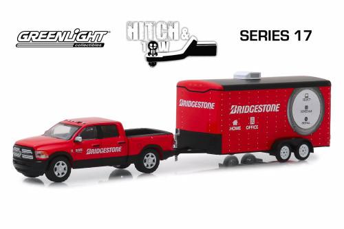 2017 Dodge Ram 2500 Big Horn Pickup Truck and Enclosed Hauler, Bridgestone Service Center - Greenlight 32170C/24 - 1/64 Scale Diecast Model Toy Car
