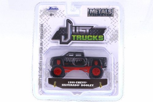 1999 Chevy Silverado Dooley, Black - Jada 14020-W22 - 1/64 Scale Diecast Model Toy Car