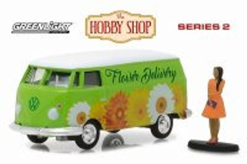 1976 Volkswagen Type 2 Panel Van, Green w/ Decals - Greenlight 97020B/48 - 1/64 Scale Diecast Model Toy Car