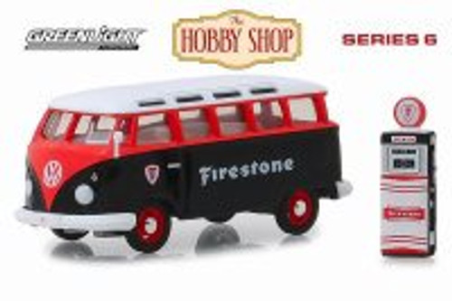 1964 Volkswagen Samba Bus with Firestone Gas Pump, Firestone - Greenlight 97060A/48 - 1/64 Scale Diecast Model Toy Car