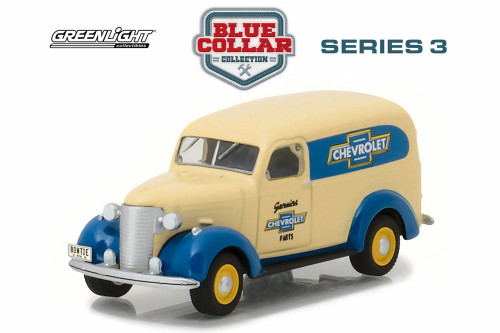 1939 Chevy Panel Truck Genuine Chevy Parts, Cream Yellow - Greenlight 35080/48 - 1/64 Scale Diecast Model Toy Car