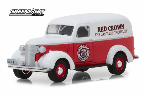 1939 Chevy Panel Truck, Red Crown - Greenlight 41060/6 - 1/64 scale Diecast Model Toy Car