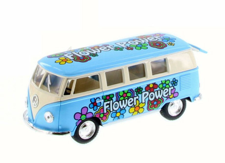 1962 Volkswagen Classic Bus w/ Flower Decals, Blue - Kinsmart 5060DYF - 1/32 Scale Diecast Model Toy Car
