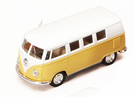 1962 Volkswagen Classic Bus, Yellow - Kinsmart 5060W - 1/32 Scale Diecast Model Toy Car