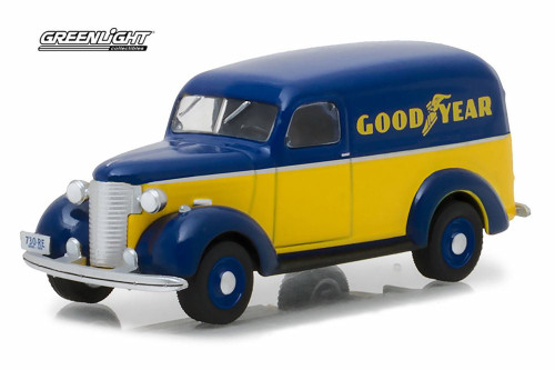 1939 Chevy Panel Truck Goodyear Tires, Blue w/ Yellow - Greenlight 41040/48 - 1/64 Scale Diecast Model Toy Car