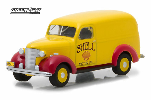1939 Chevy Panel Truck Shell Oil, Yellow w/ Red - Greenlight 41040/48 - 1/64 Scale Diecast Model Toy Car