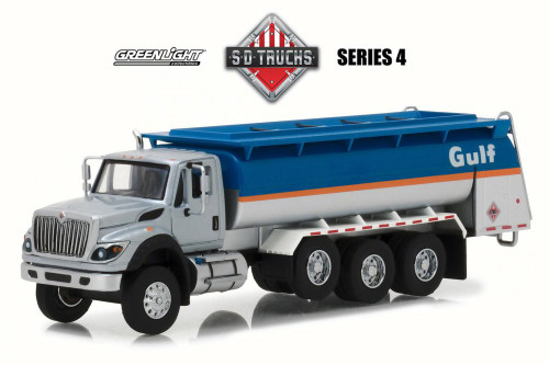 2018 International WorkStar Tanker Truck Gulf Oil, Blue w/ Silver - Greenlight 45040C/48 - 1/64 Scale Diecast Model Toy Car