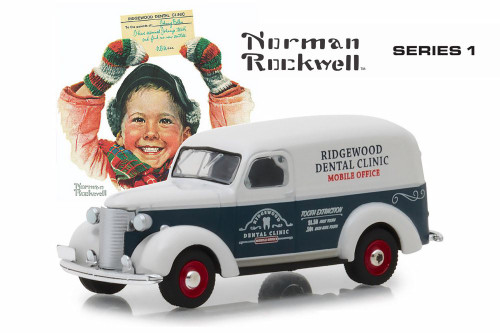 1939 Chevy Panel Truck, Ridgewood Dental Clinic - Greenlight 37150A/48 - 1/64 Scale Diecast Model Toy Car