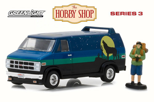 1981 GMC Vandura Custom w/ Backpacker, Black w/ Blue - Greenlight 97030C/48 - 1/64 Scale Diecast Model Toy Car