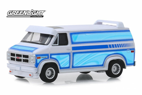 1983 GMC Vandura Custom Van, White with Light Blue - Greenlight 30094/48 - 1/64 scale Diecast Model Toy Car