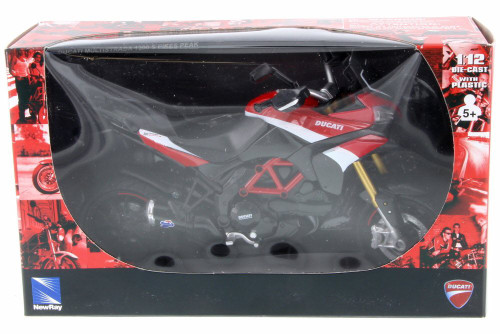 Ducati Multistrada 1200 S Pikes Peak Motorcycle, Black w/ Red - New Ray 57533 - 1/12 Scale Vehicle Replica