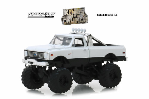 1972 Chevy K-10 Monster Truck, White - Greenlight 49030C/48 - 1/64 Scale Diecast Model Toy Car