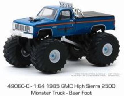 1985 GMC High Sierra 2500 Monster Truck, Kings of Crunch - Bear Foot - Greenlight 49060C/48 - 1/64 scale Diecast Model Toy Car