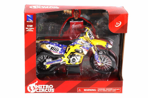 Suzuki RMA450 Nitro Circus, #199 Travis Pastrana - New Ray 57993 - 1/12 scale Diecast Model Toy Car